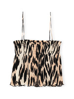 GANNI Pleated Strap Top in Maxi Leopard