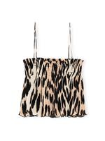 GANNI GANNI Pleated Strap Top in Maxi Leopard