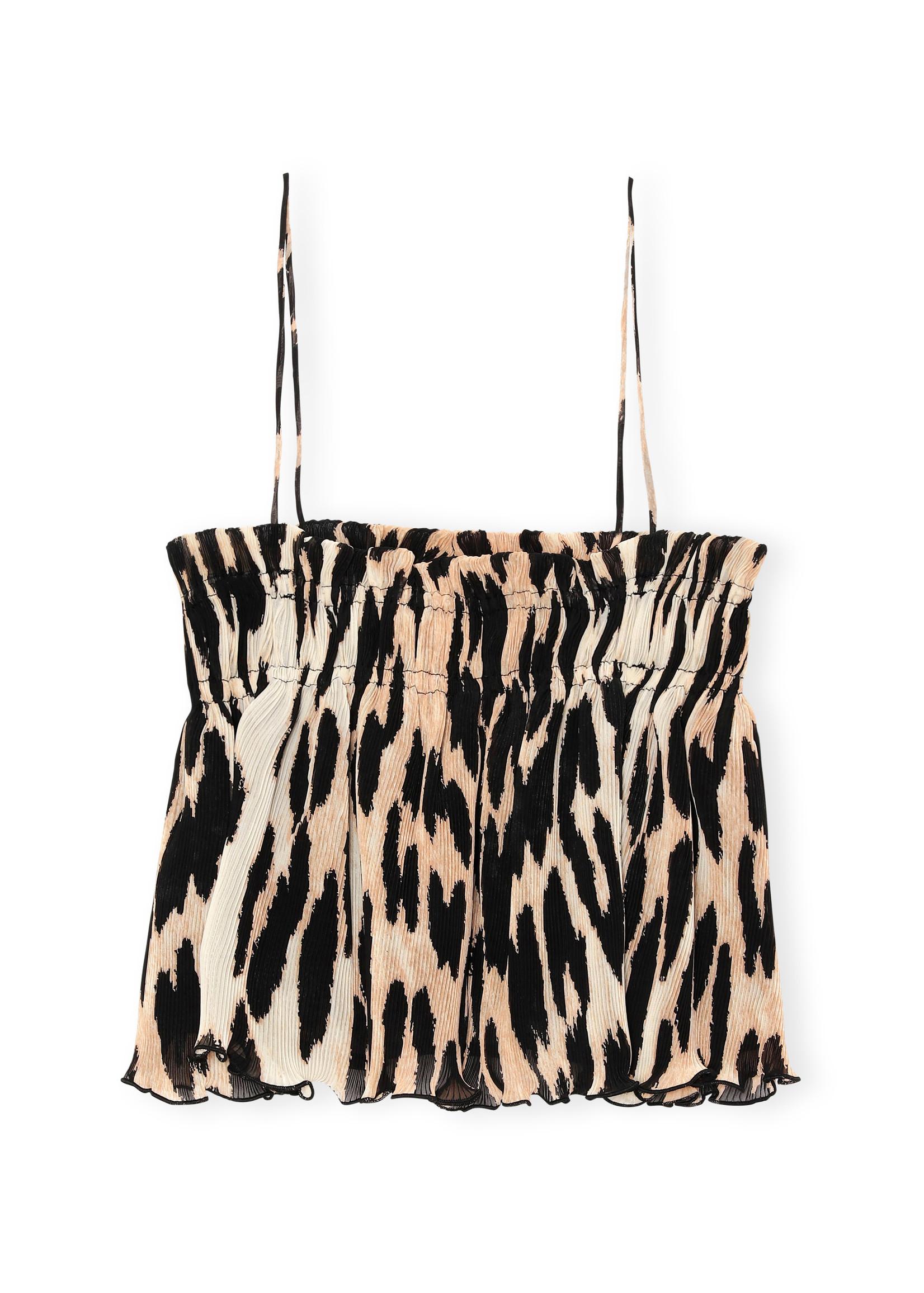 GANNI Pleated Strap Top in Maxi Leopard