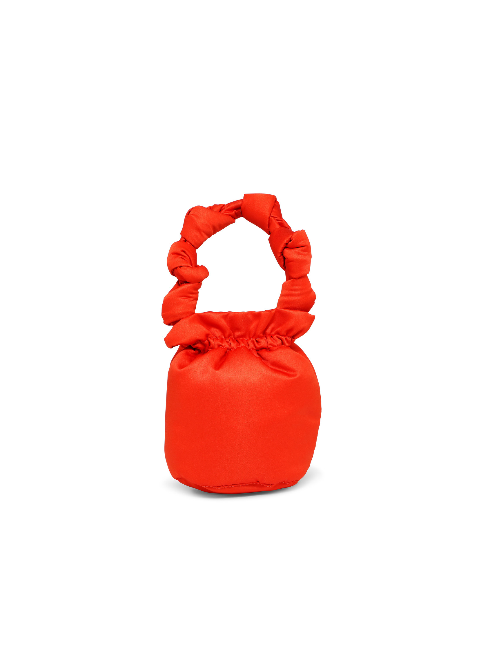 GANNI Satin Knot handle purse in Flame