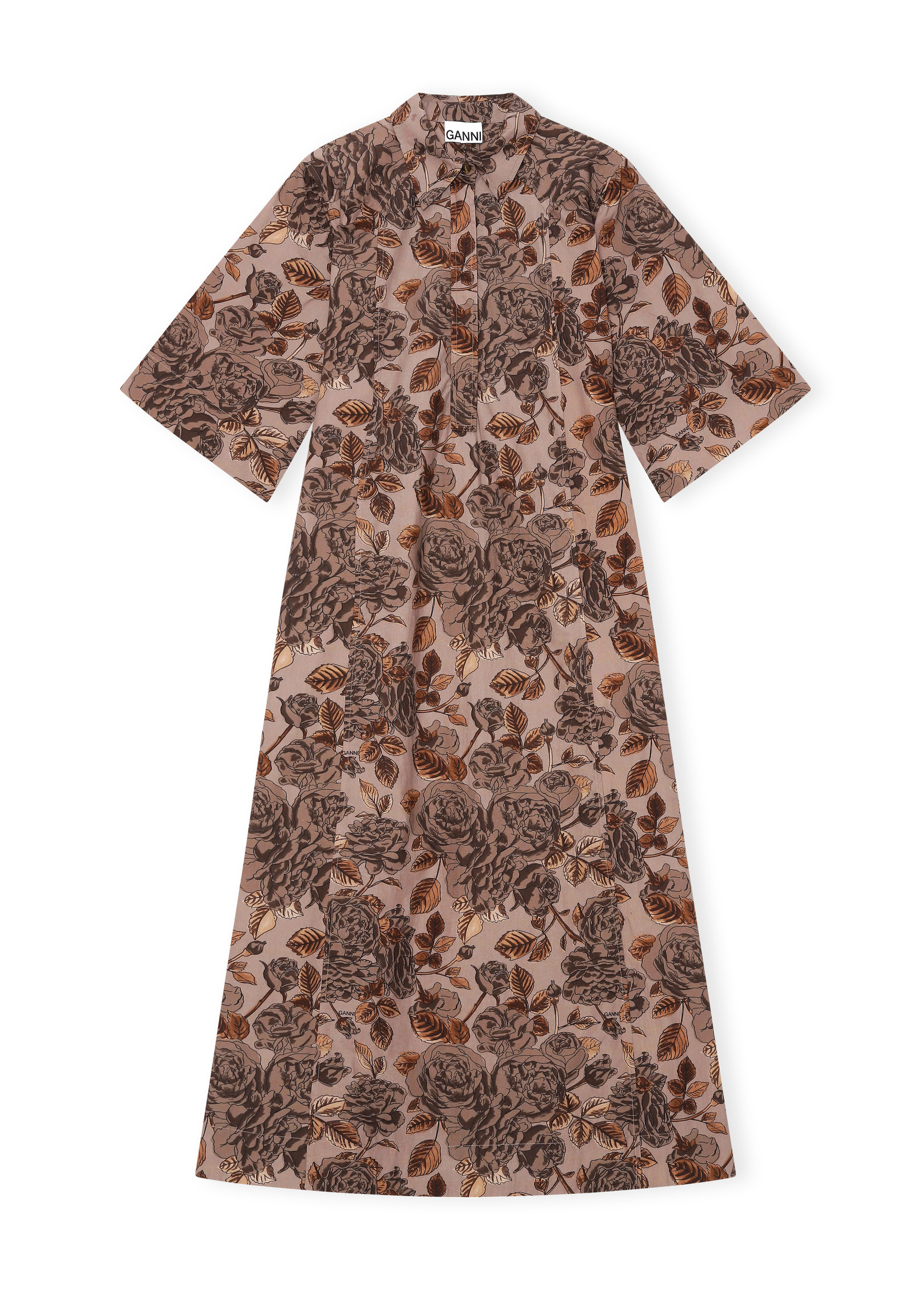 GANNI Poplin Maxi Dress in Fossil Floral Print