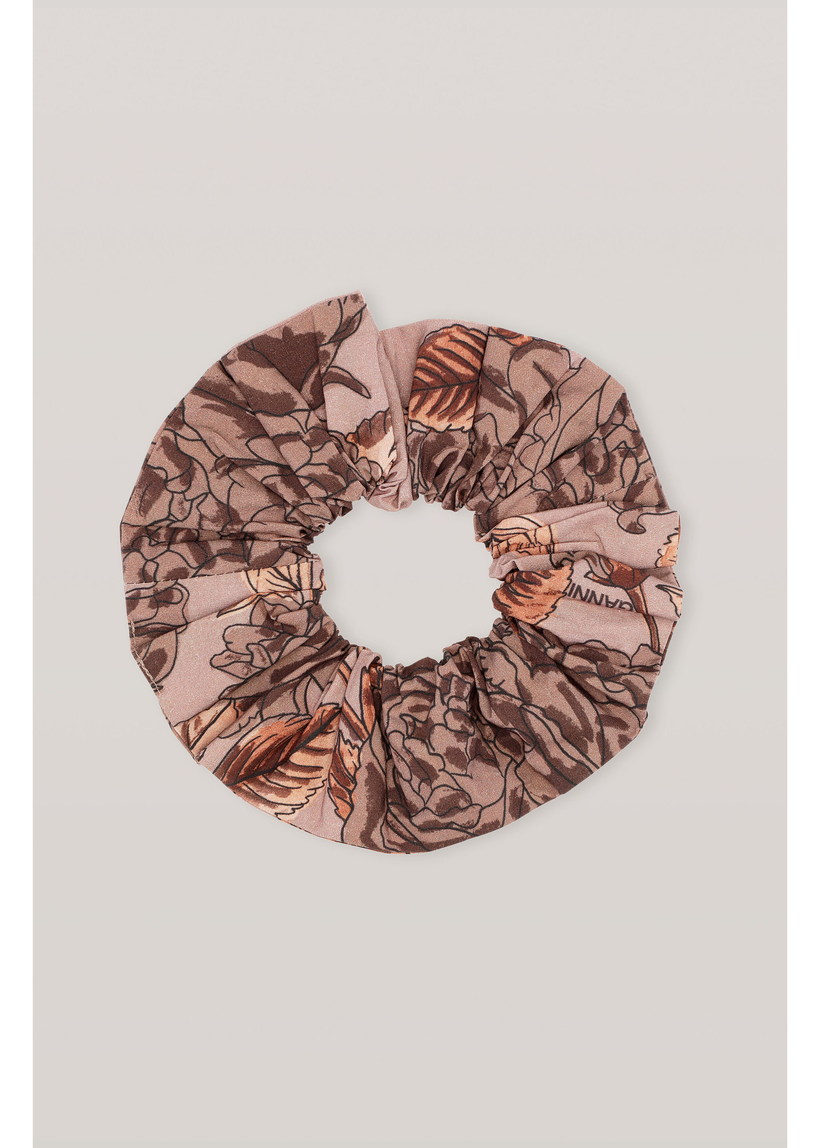 GANNI Floral Scrunchie in Fossil
