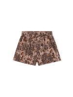 GANNI GANNI Elastic Waist Floral Shorts in Fossil