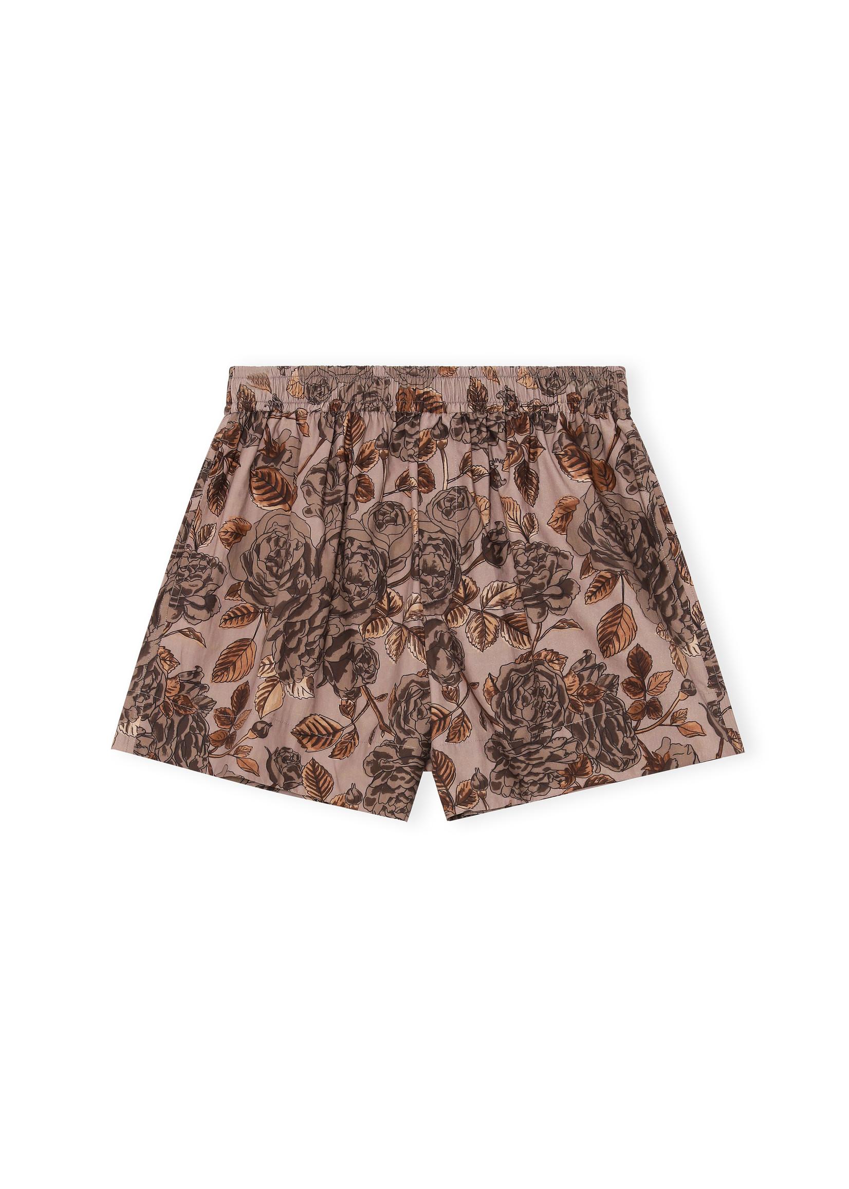 GANNI Elastic Waist Floral Shorts in Fossil