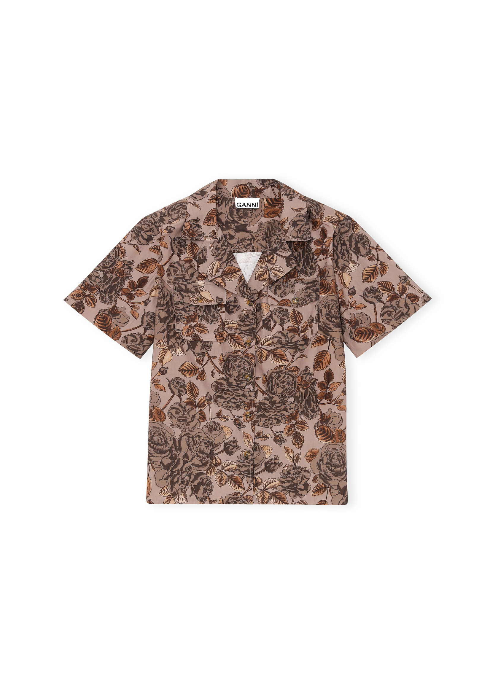 GANNI Floral Camp Shirt in Fossil