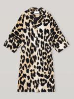 GANNI Lightweight Spring Coat in Maxi Leopard