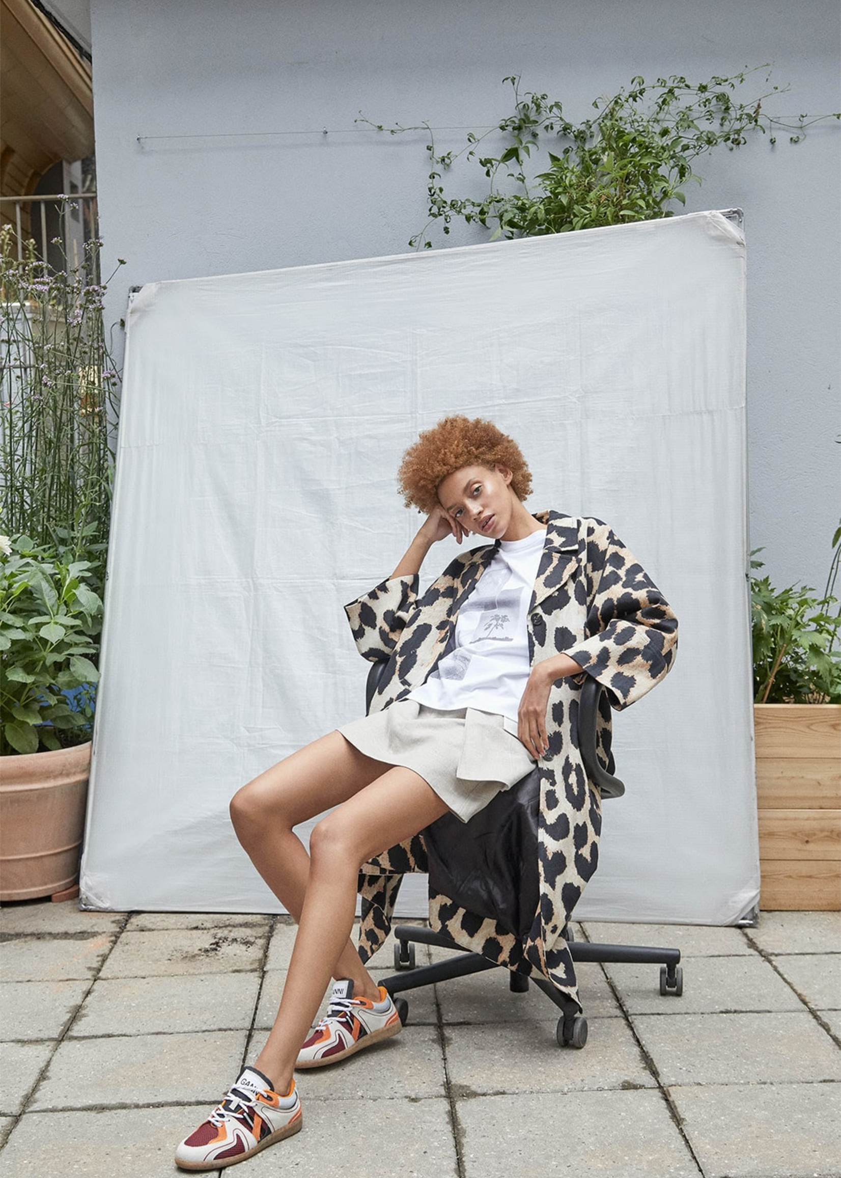 GANNI Lightweight Coat in Maxi Leopard print