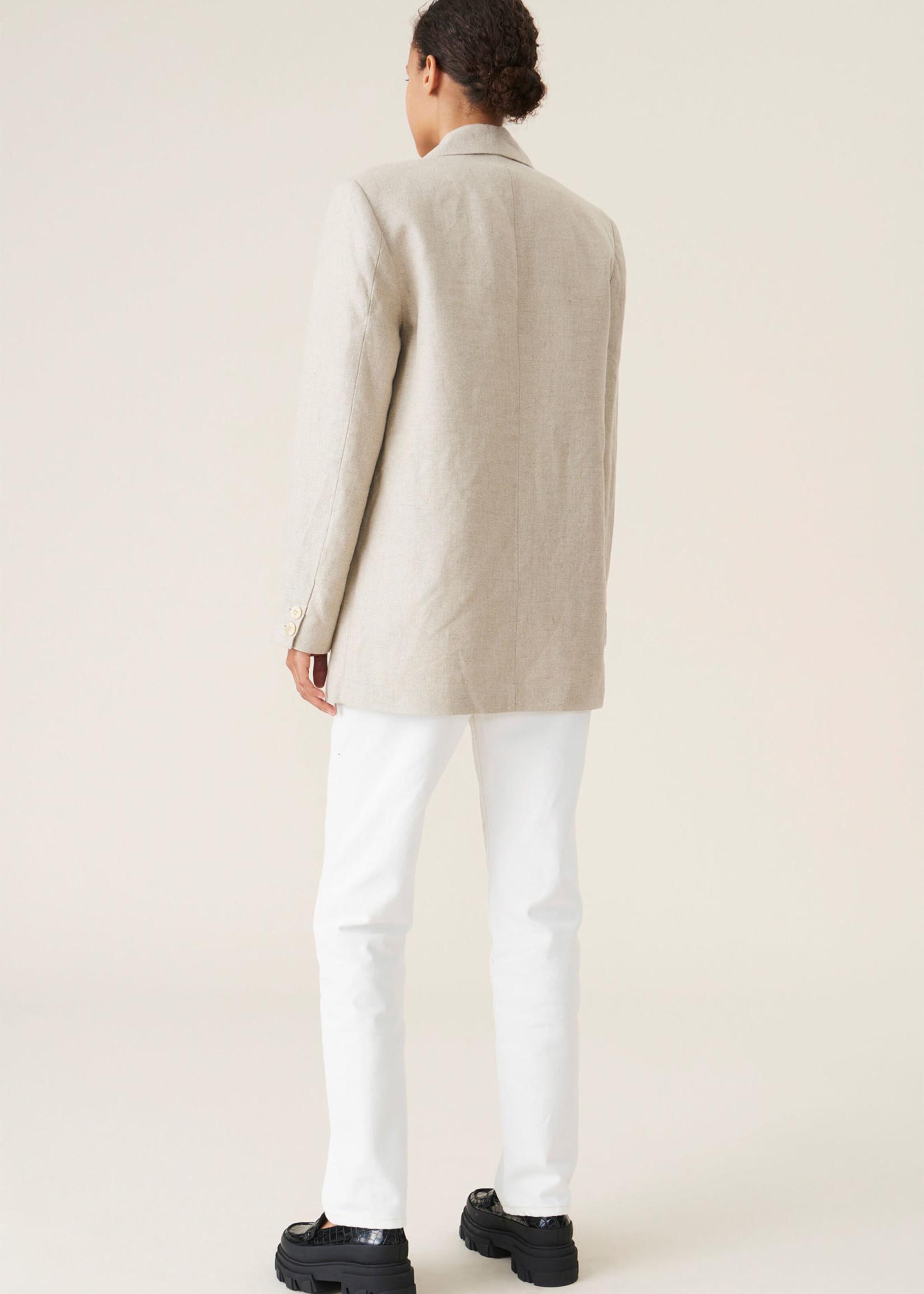 GANNI Linen Blazer in Natural