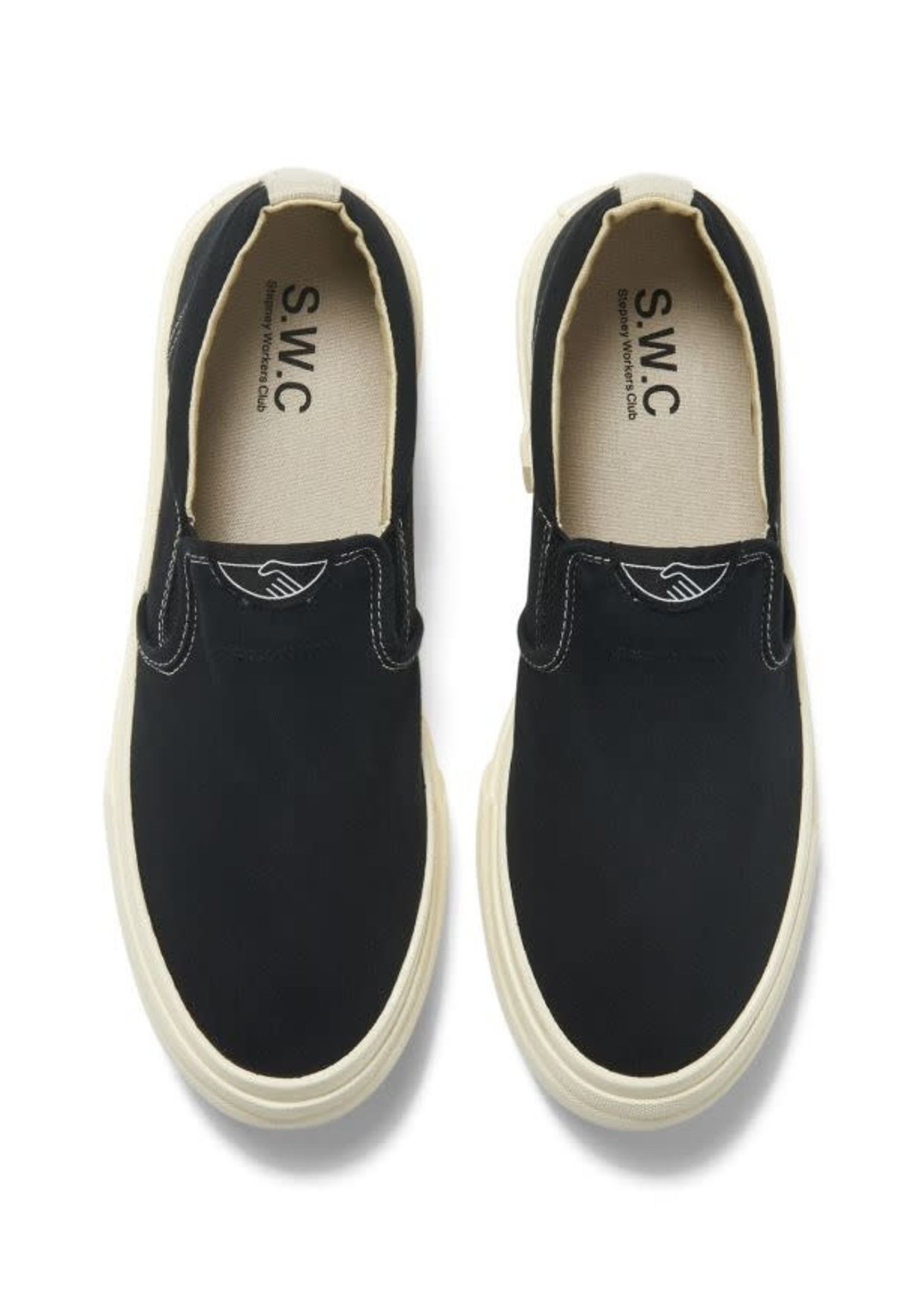 Stepney Workers Club Lister Slip-on in Black Canvas