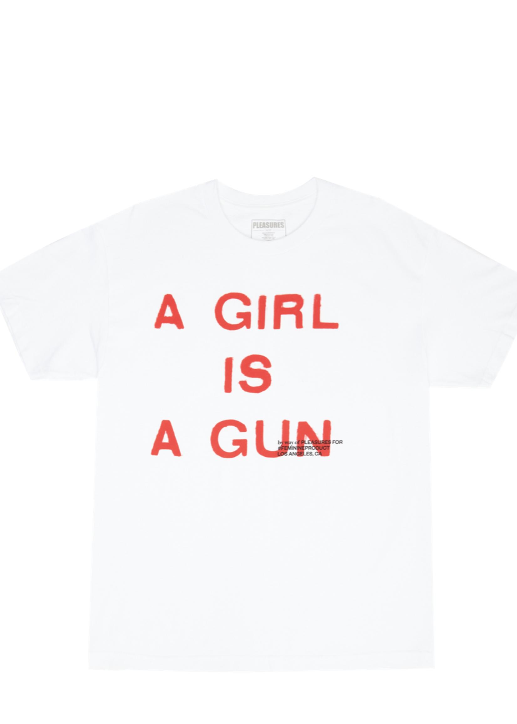 PLEASURES A Girl is a Gun T-shirt in White