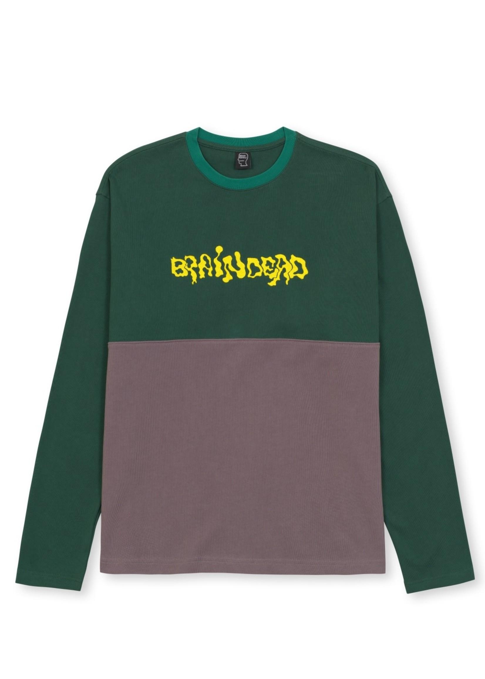 Brain Dead Embroidered Logo Football Shirt in Green