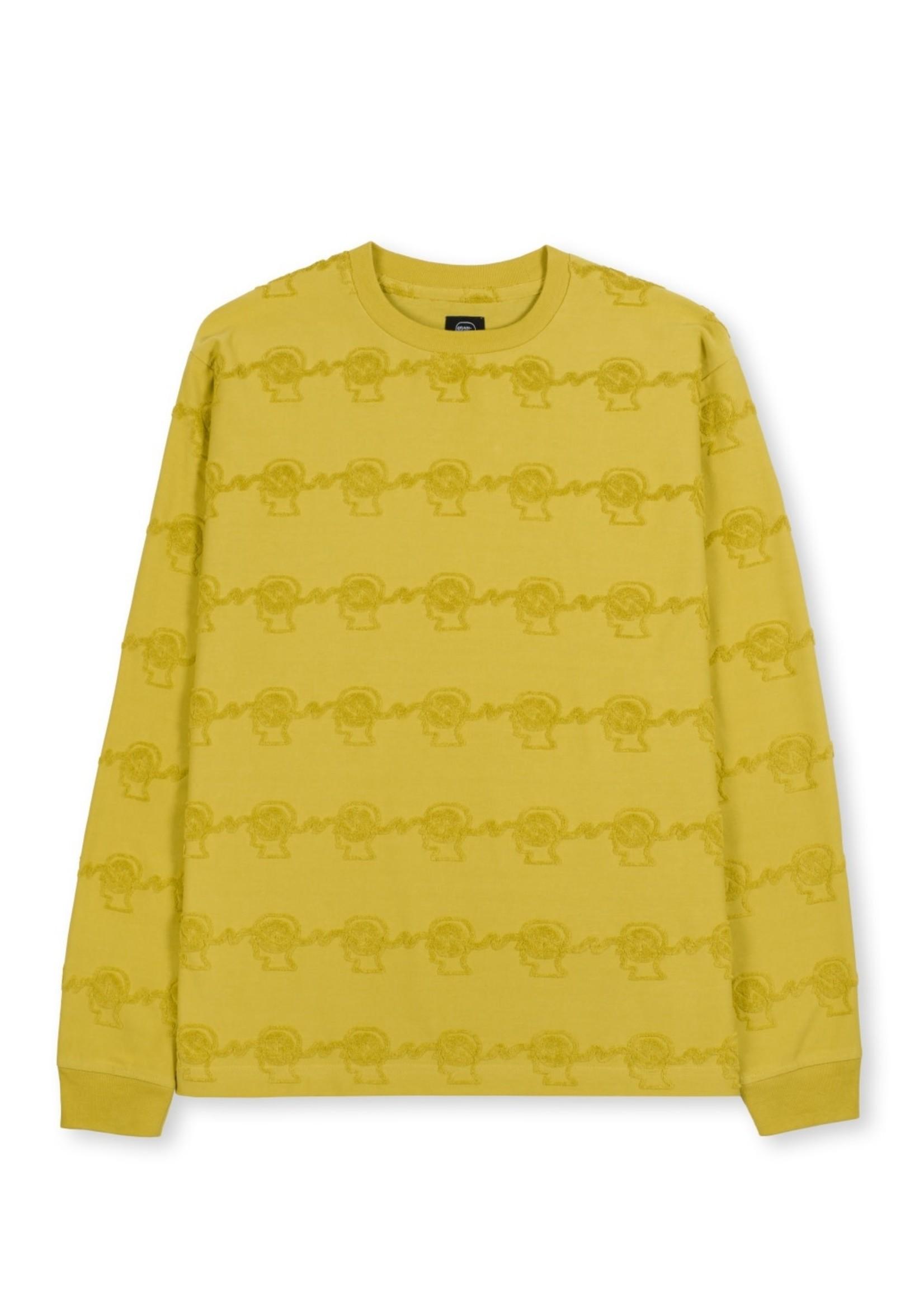 Brain Dead Running Head Stripe Long Sleeve T-shirt in Gold