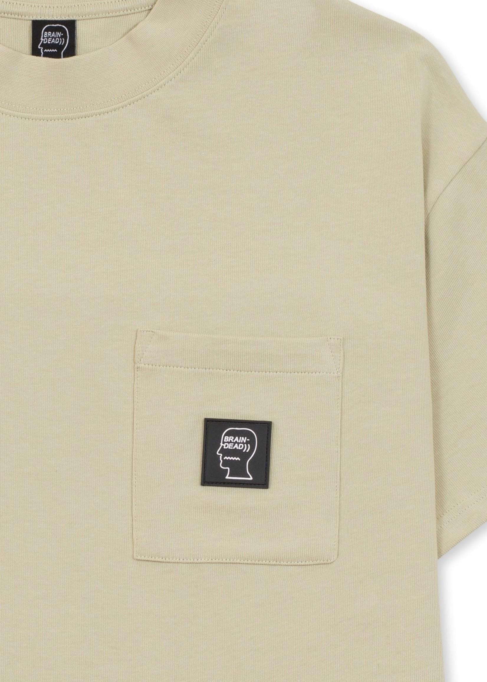 Brain Dead Mock Neck Heavyweight Pocket T-shirt in Tan