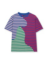 Brain Dead Wave Panel Stripe Tee in Red and Blue