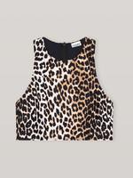 GANNI Racerback Swim Top in Leopard