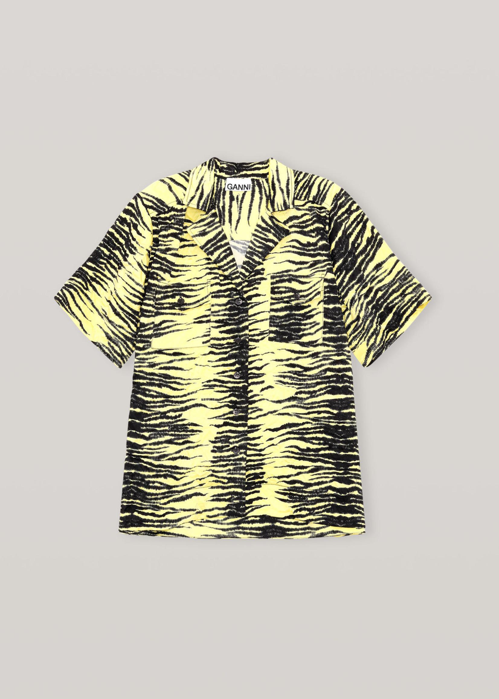 GANNI Crinkled Satin Shirt in Yellow Print