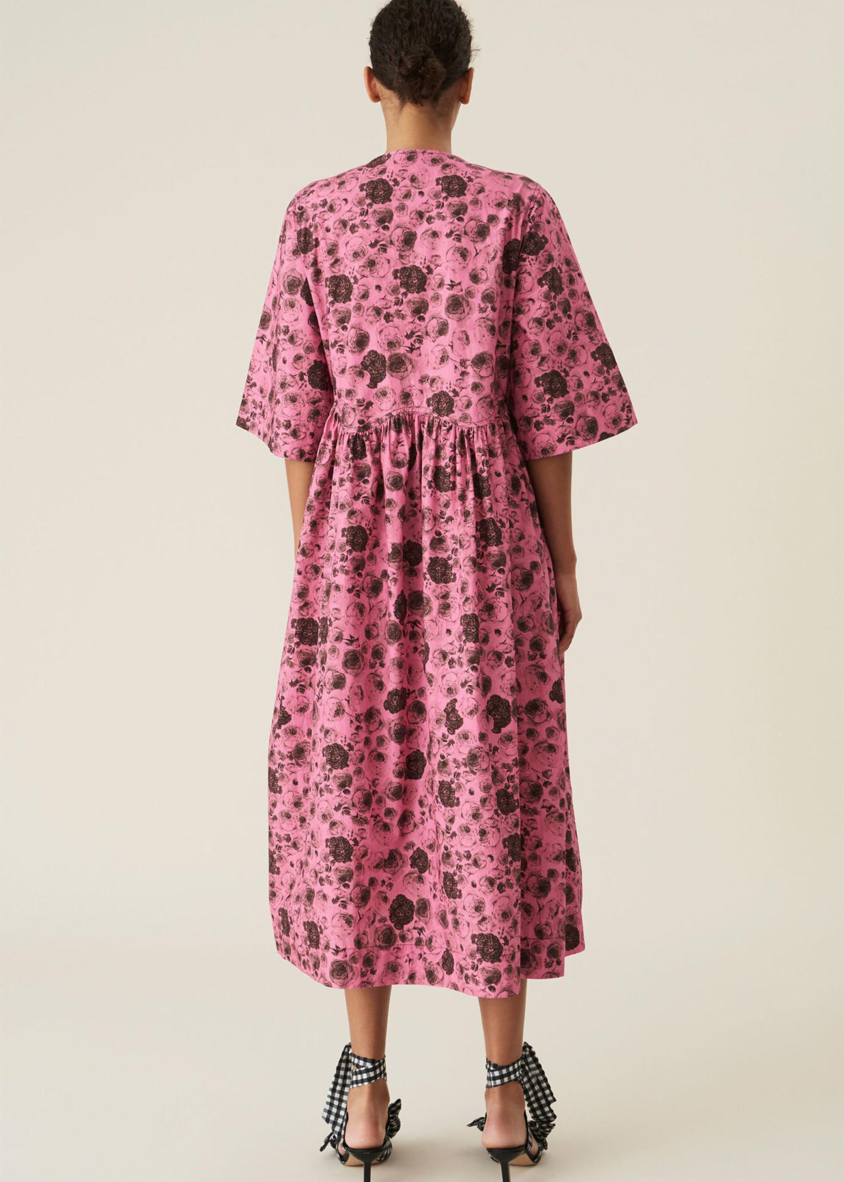GANNI GANNI Oversize Wrap Dress in Pink Floral