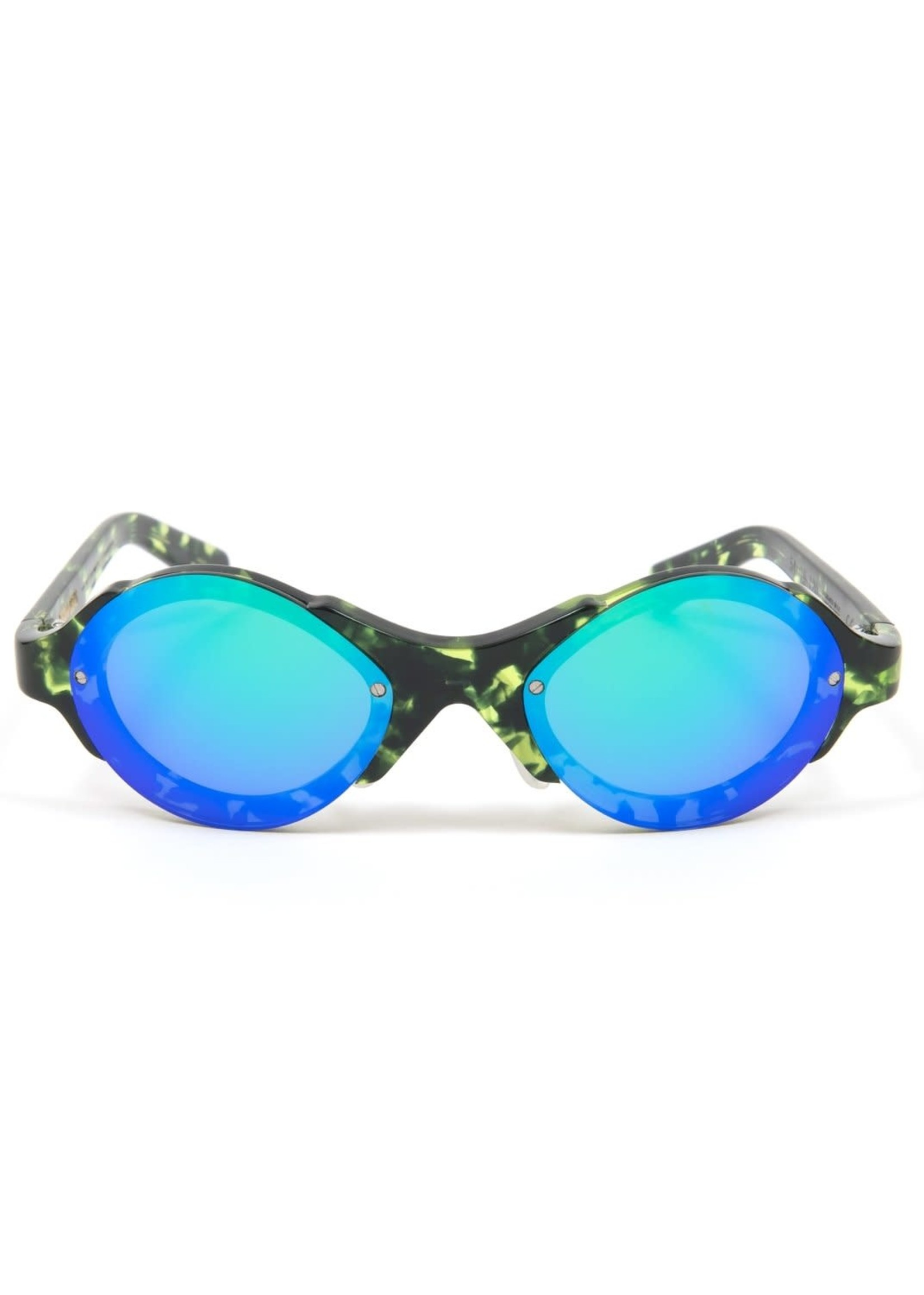 Brain Dead Mutant Sunglasses in Green Tortoise/Blue Reflective