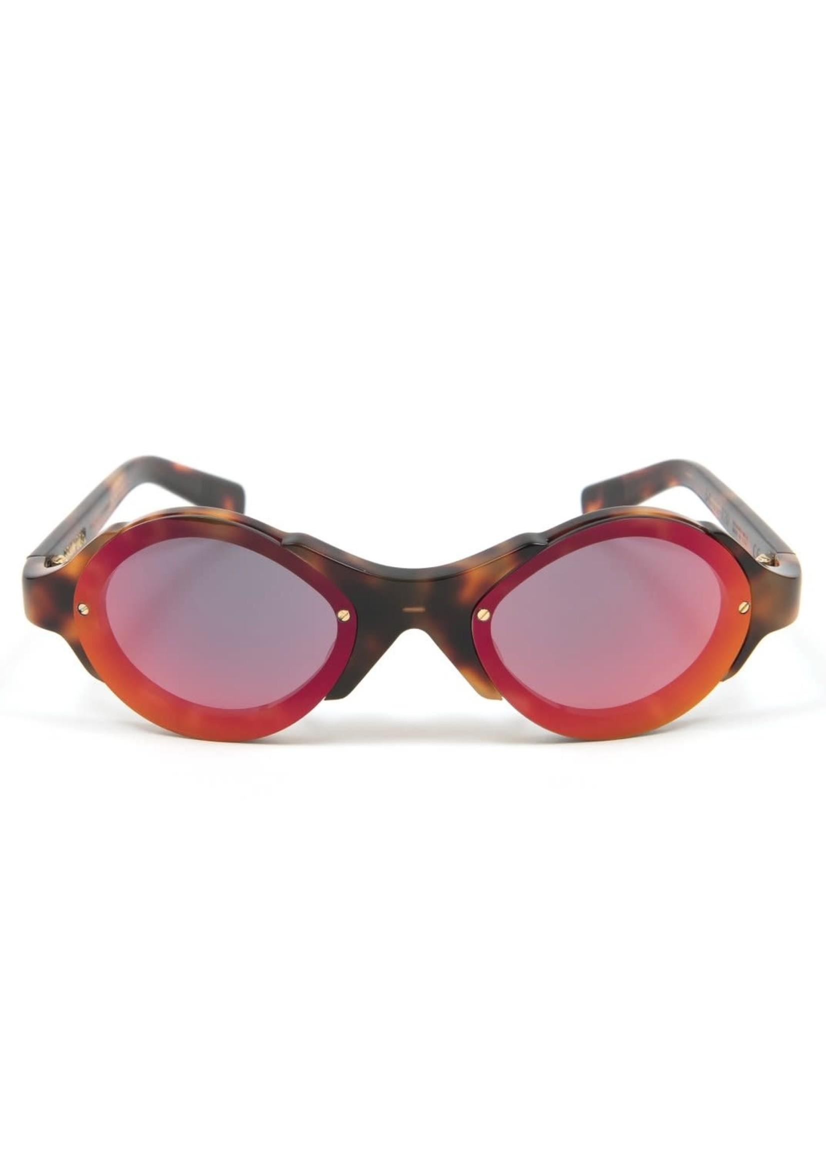Brain Dead Mutant Sunglasses in Brown Tortoise / Red Reflective