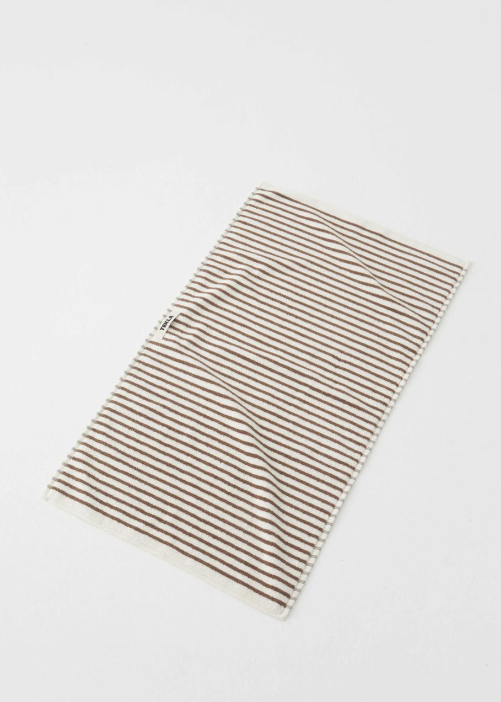 TEKLA Organic Hand Towel in Brown Stripe