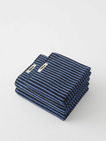 TEKLA Organic Hand Towel in Black and Blue Stripe