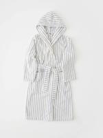 TEKLA Organic Hooded Bathrobe in Blue Stripe