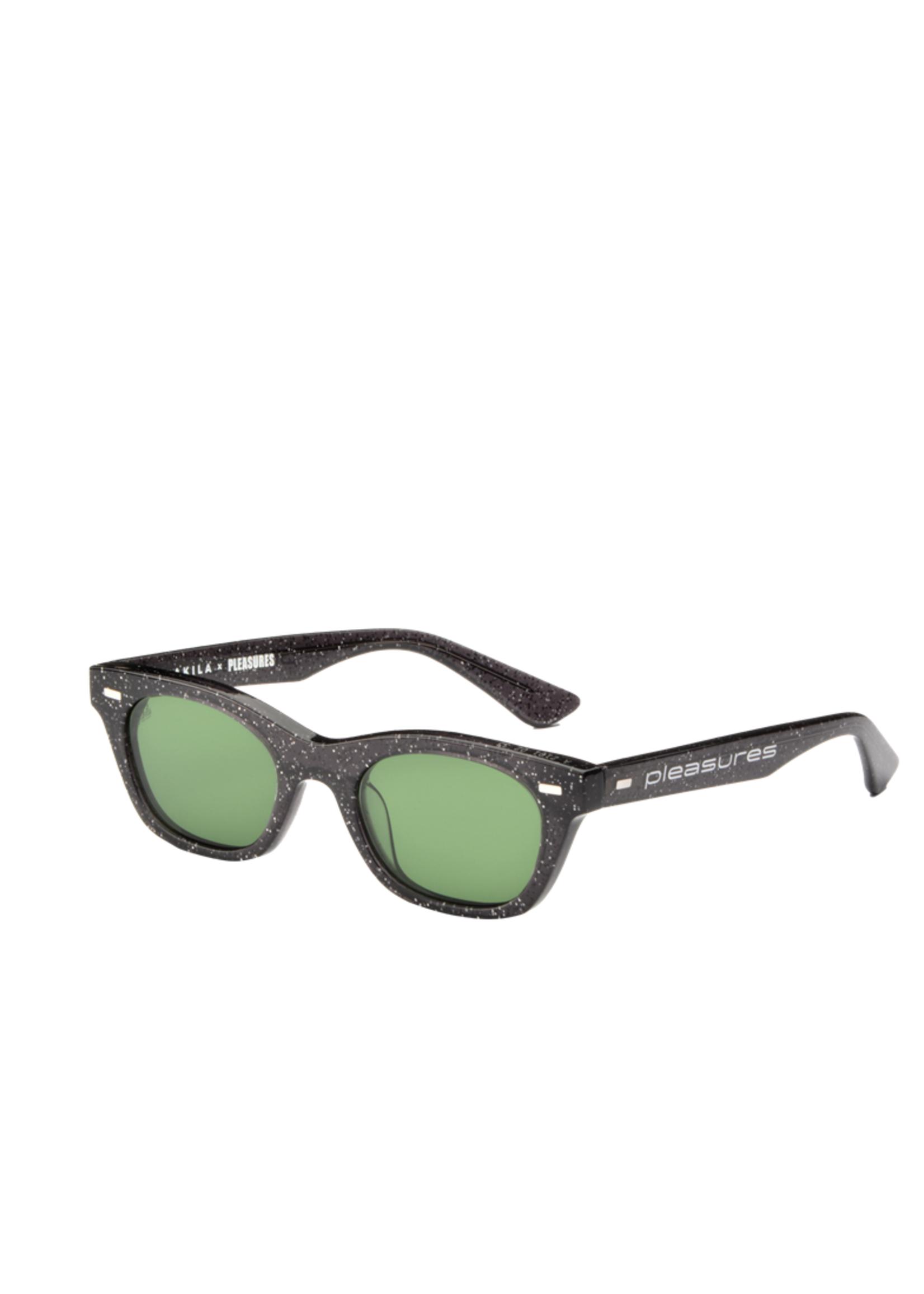 PLEASURES AKILA X PLEASURES Method Sunglasses in Black Sparkle