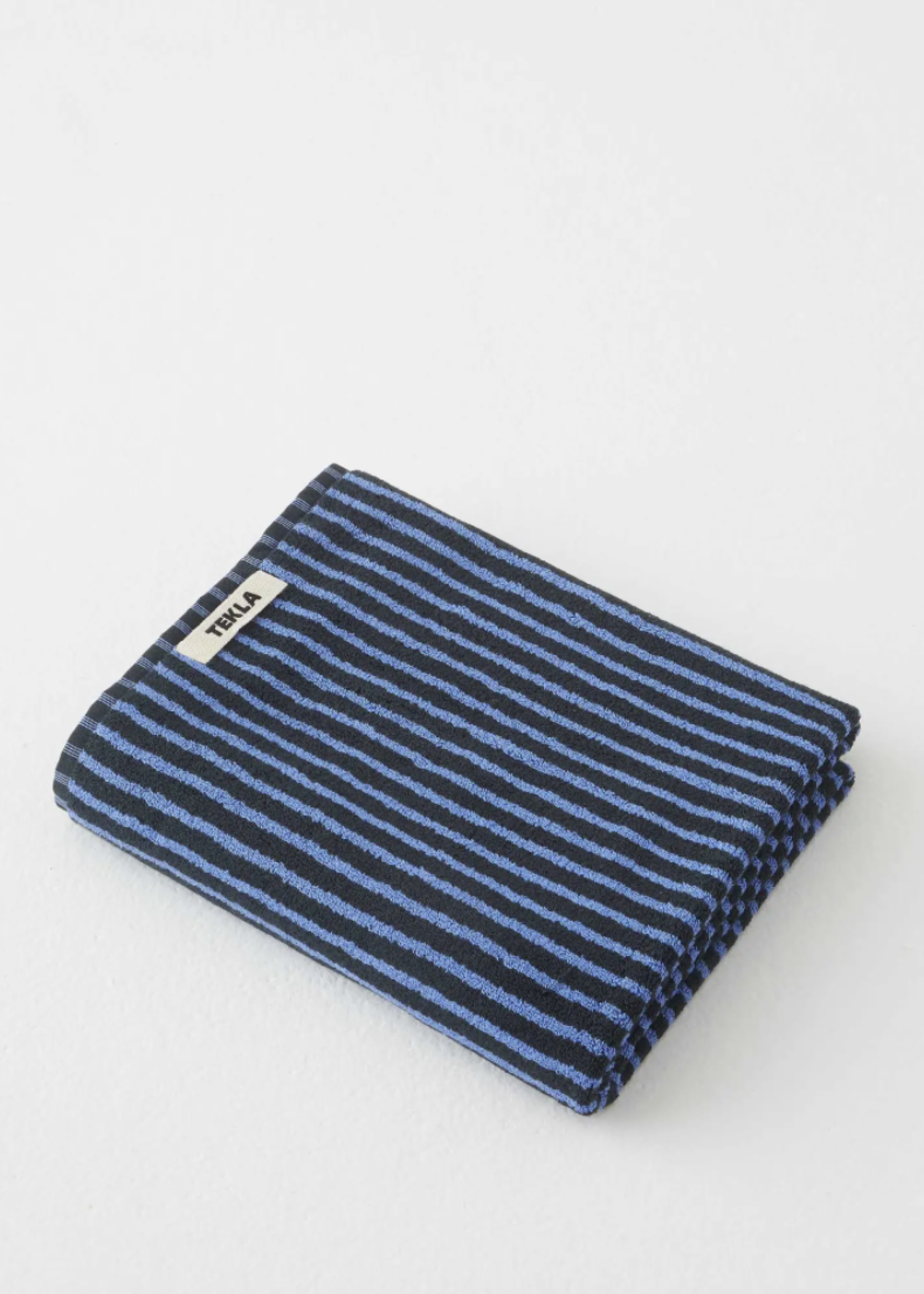 TEKLA Organic Bath Towel in Black and Blue Stripe