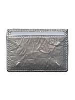 Maison Margiela Wrinkled Leather Cardholder Silver and Black
