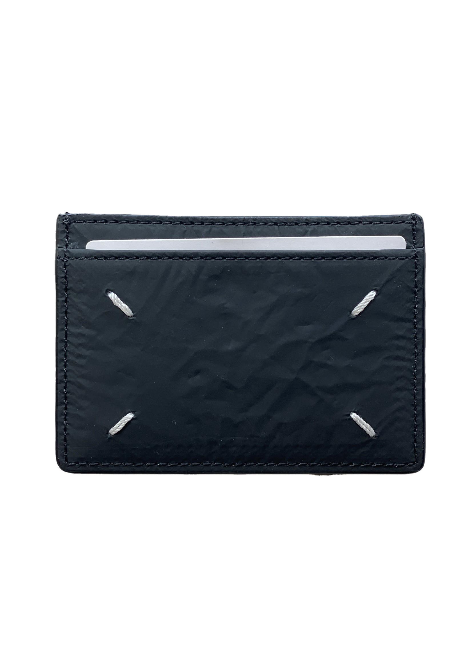 Maison Margiela Wrinkled Leather Cardholder in Black