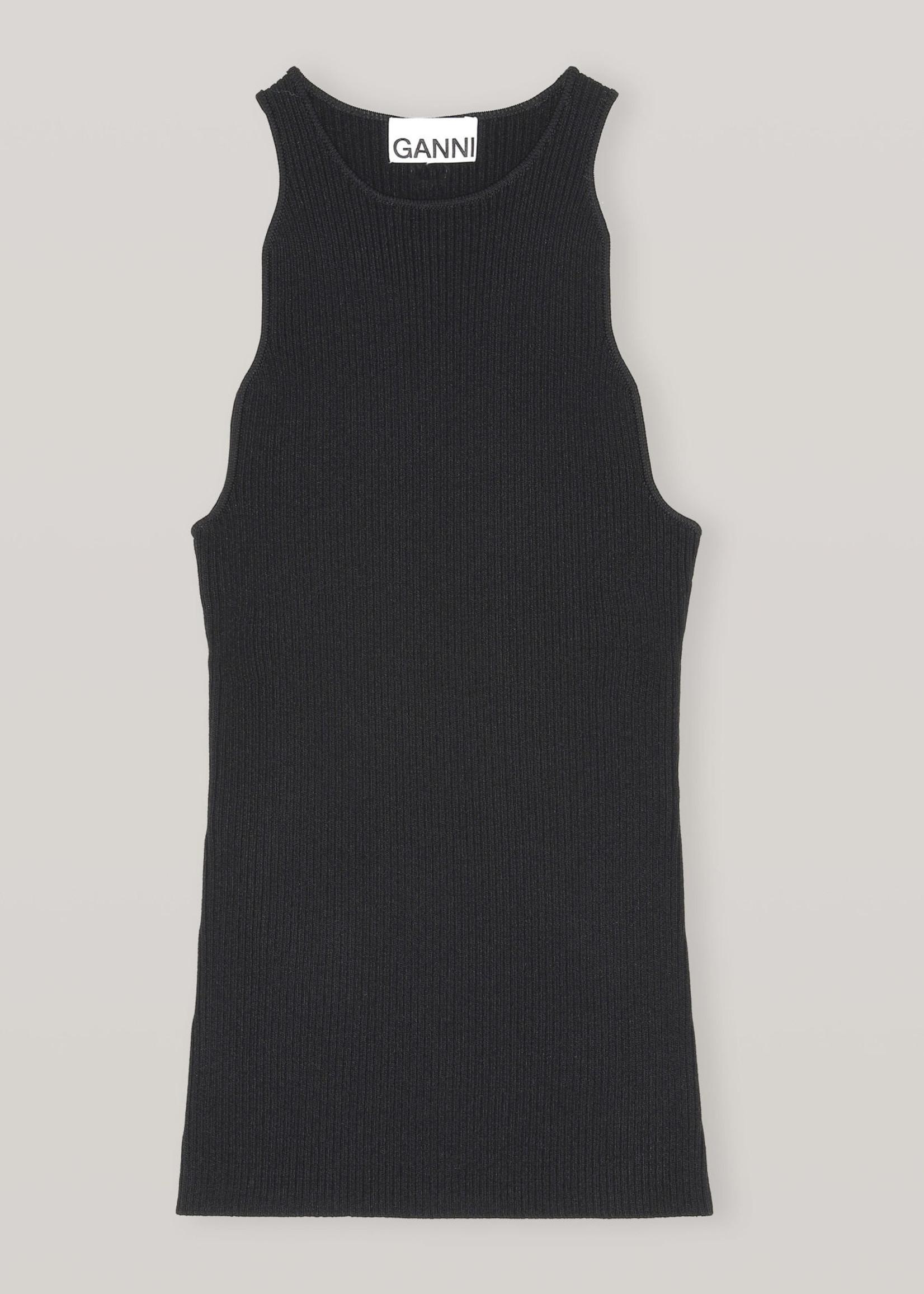 GANNI Melange Knit Wavy Tank in Black