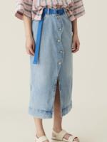 GANNI Wavy Denim Midi Skirt