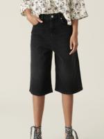 GANNI High Waist Wide Shorts  in Black Denim