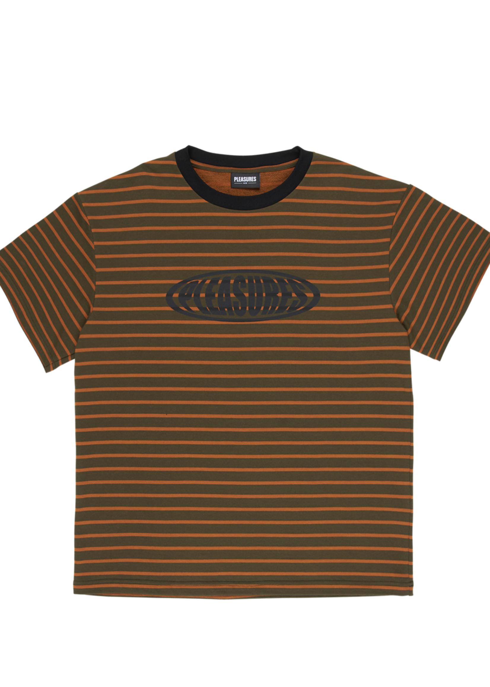 PLEASURES Sports StripeT-Shirt in Orange