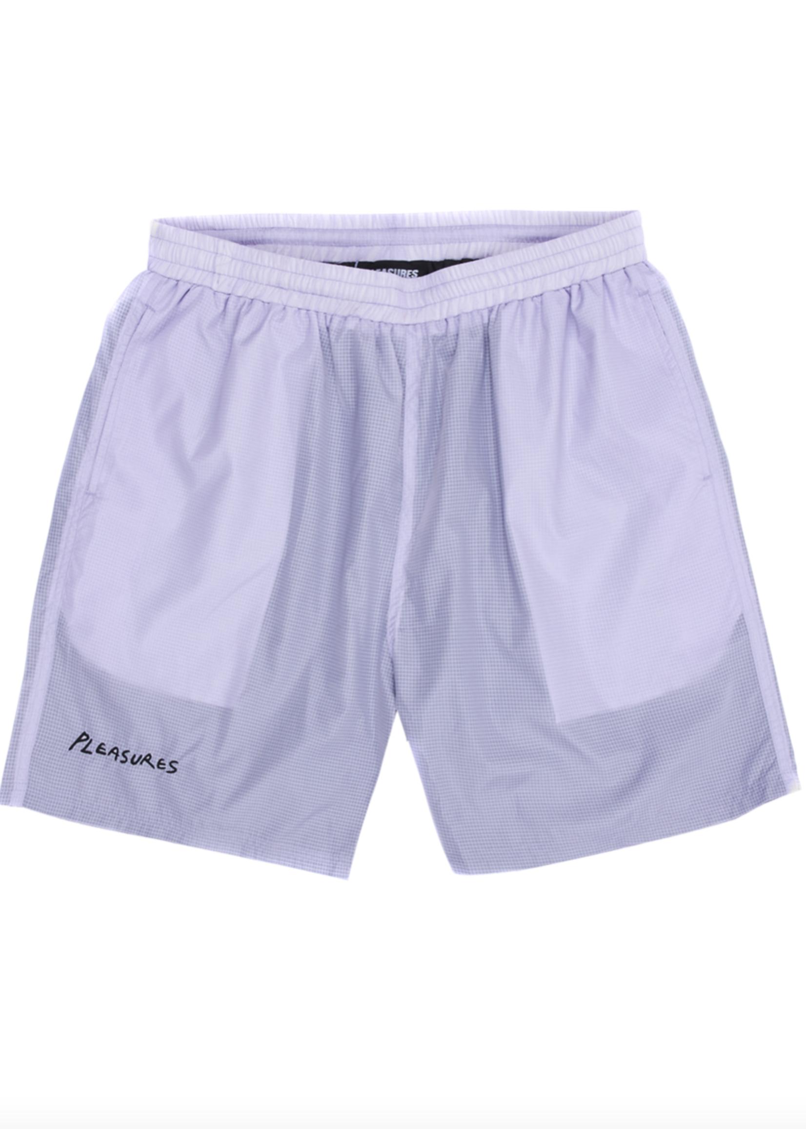 PLEASURES VCR Active Nylon Shorts in Lavender