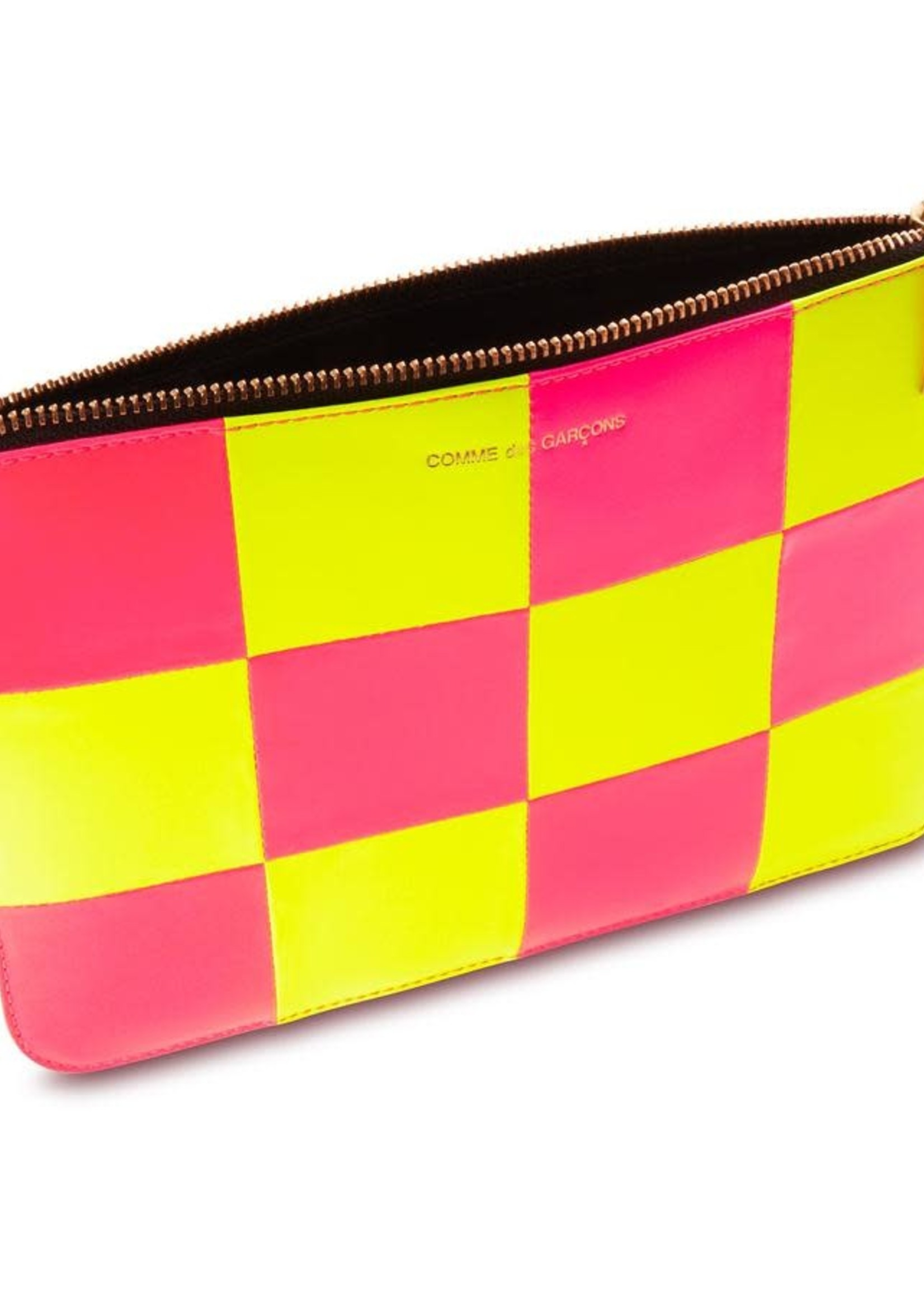 COMME des GARÇONS WALLET Large Neon Checkerboard Zip Pouch