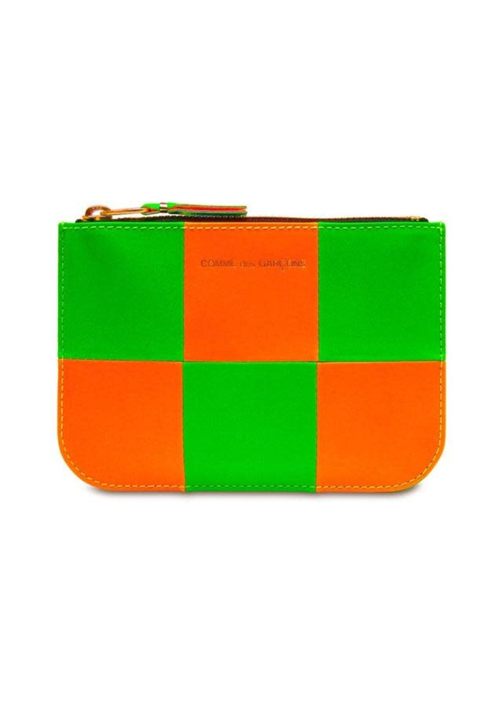 COMME des GARÇONS WALLET Small neon Checkerboard Zip Pouch