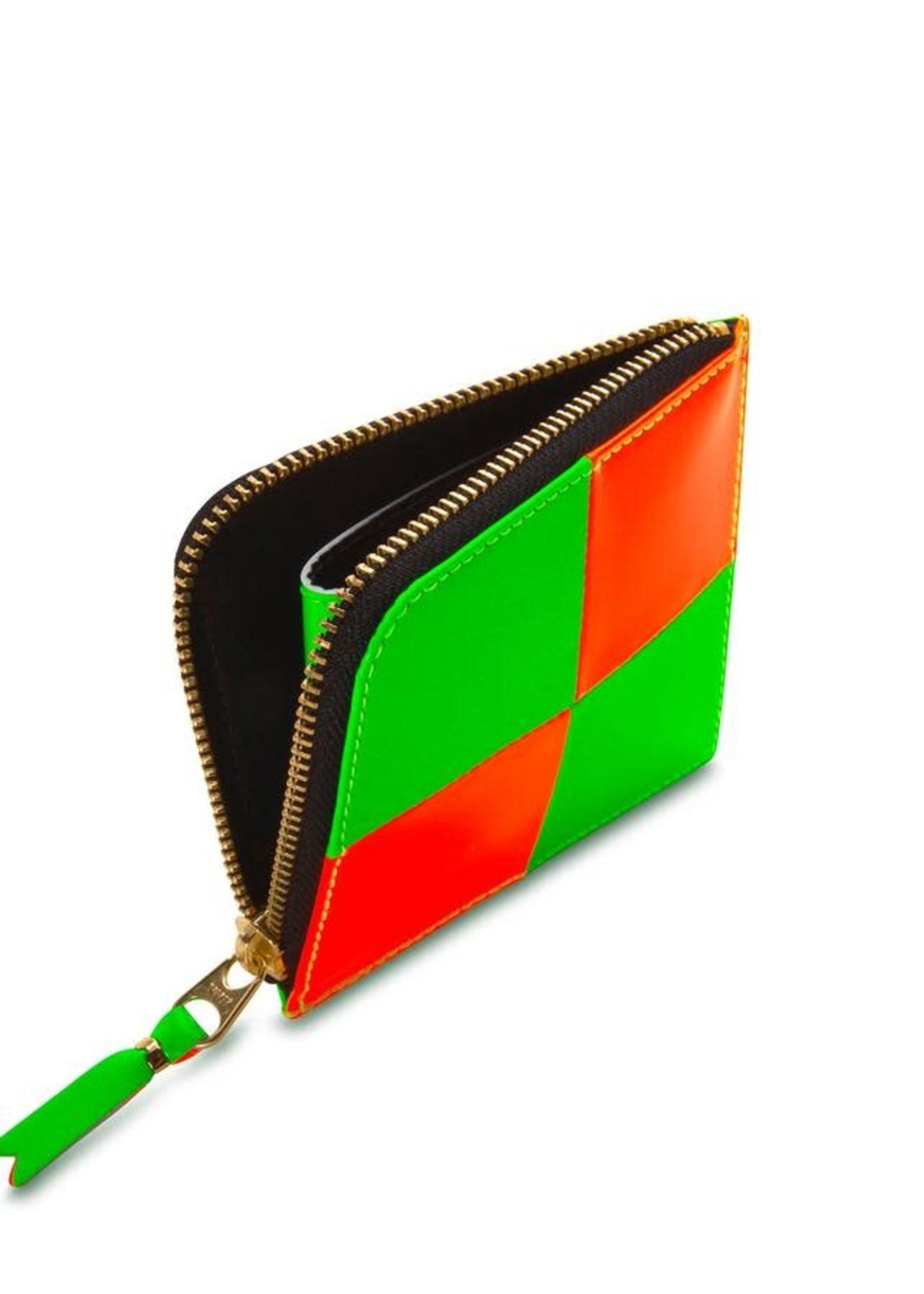 COMME des GARÇONS WALLET 1/2 Zip Neon Checkerboard Wallet