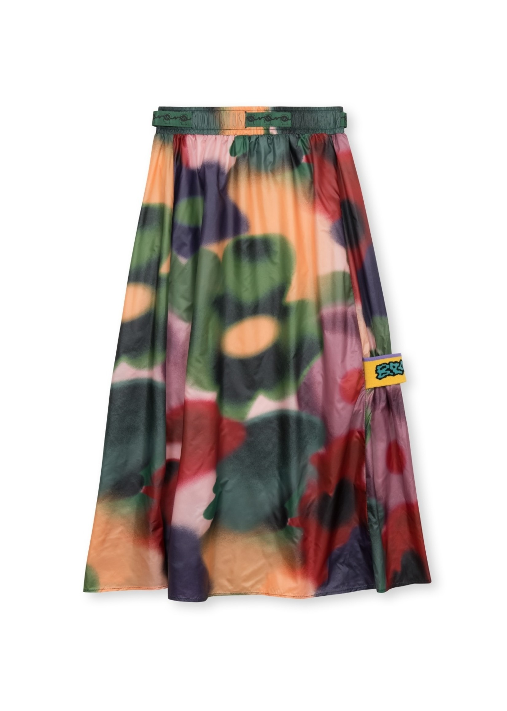 Brain Dead Long Panel Skirt with belt in Watercolor Floral