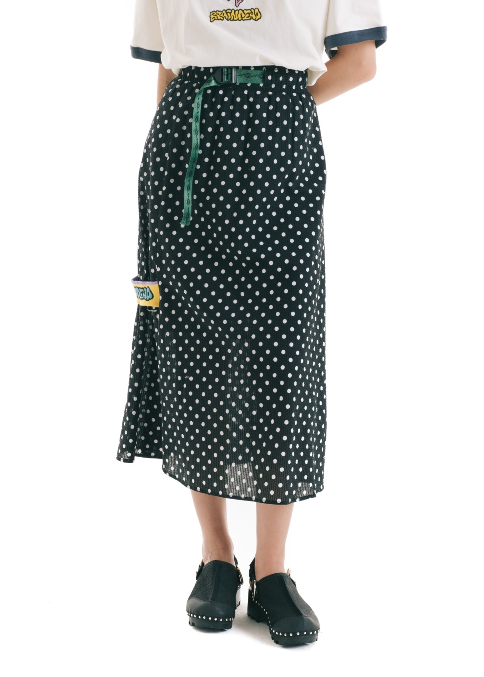 Brain Dead Long Panel Skirt with belt in Black and White Polka Dot