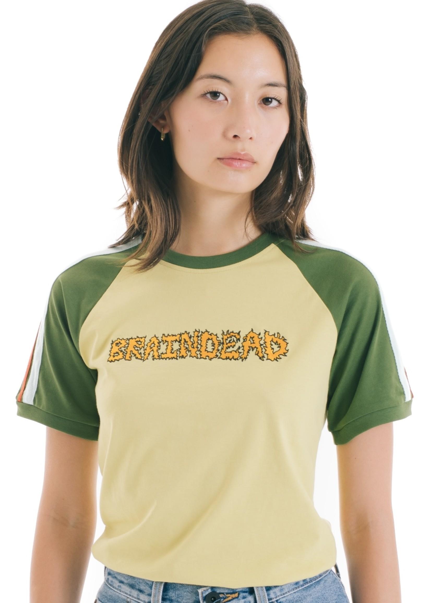 Brain Dead Embroidered Logo Raglan T-shirt in Gold