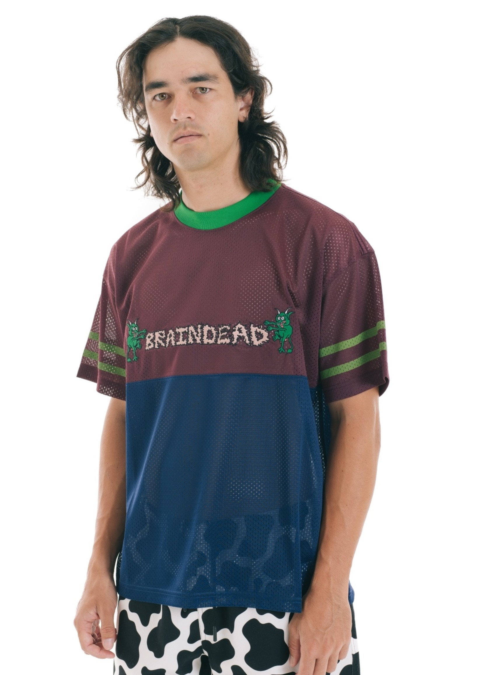 Brain Dead Paneled Football Mesh Shirt in Burgundy
