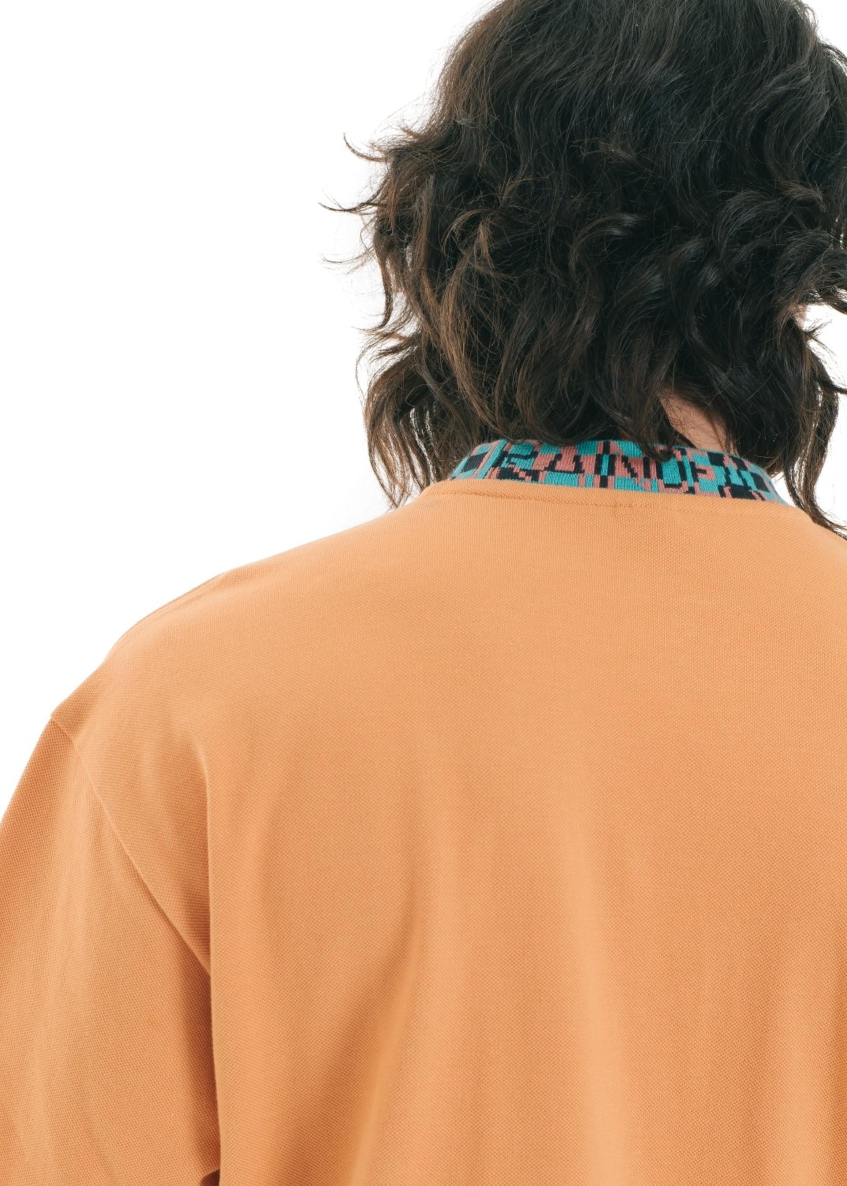 Brain Dead Jacquard Collar Pique Mock-neck shirt in Orange