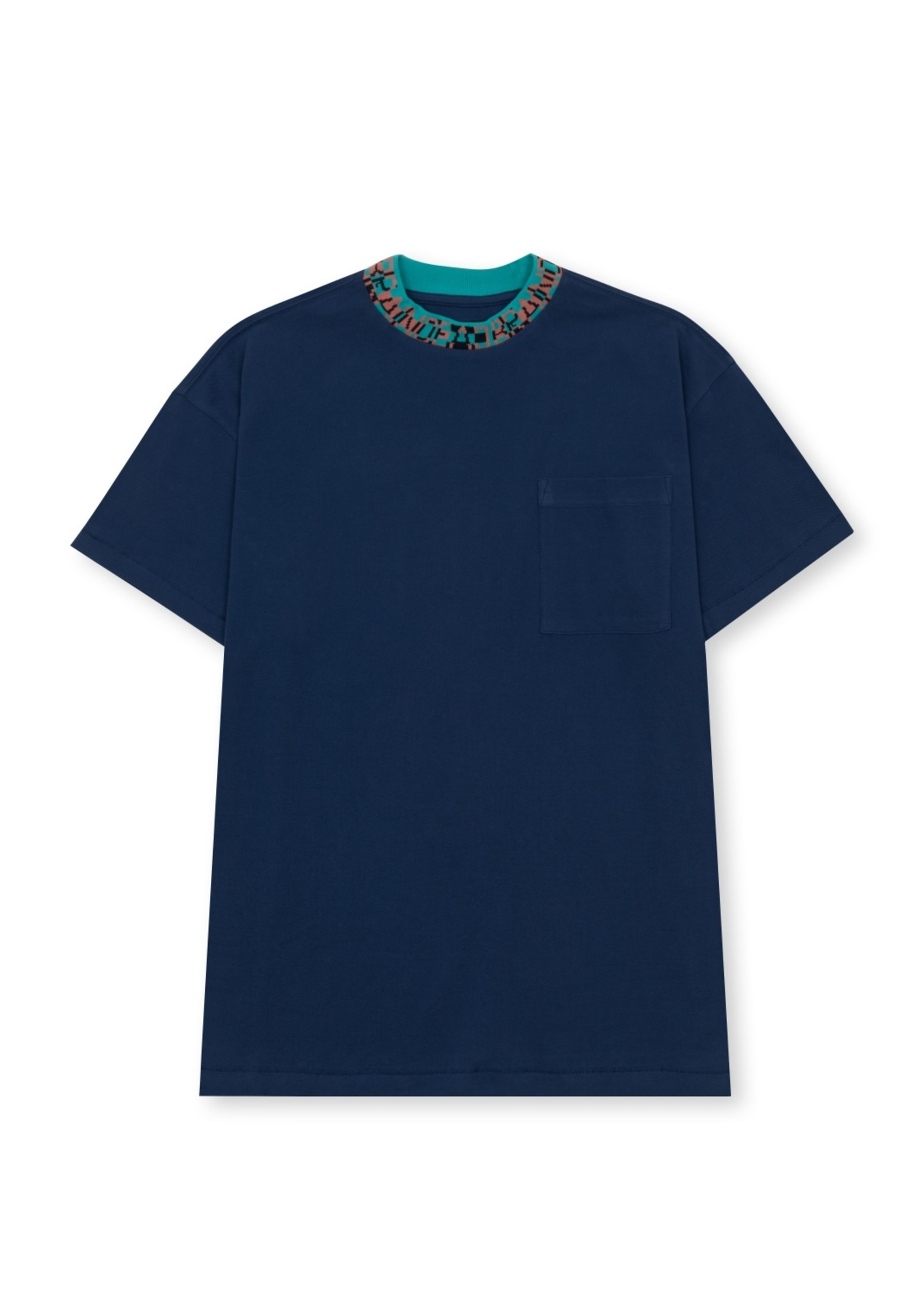 Brain Dead Jacquard Collar Pique Mock-neck shirt in Navy