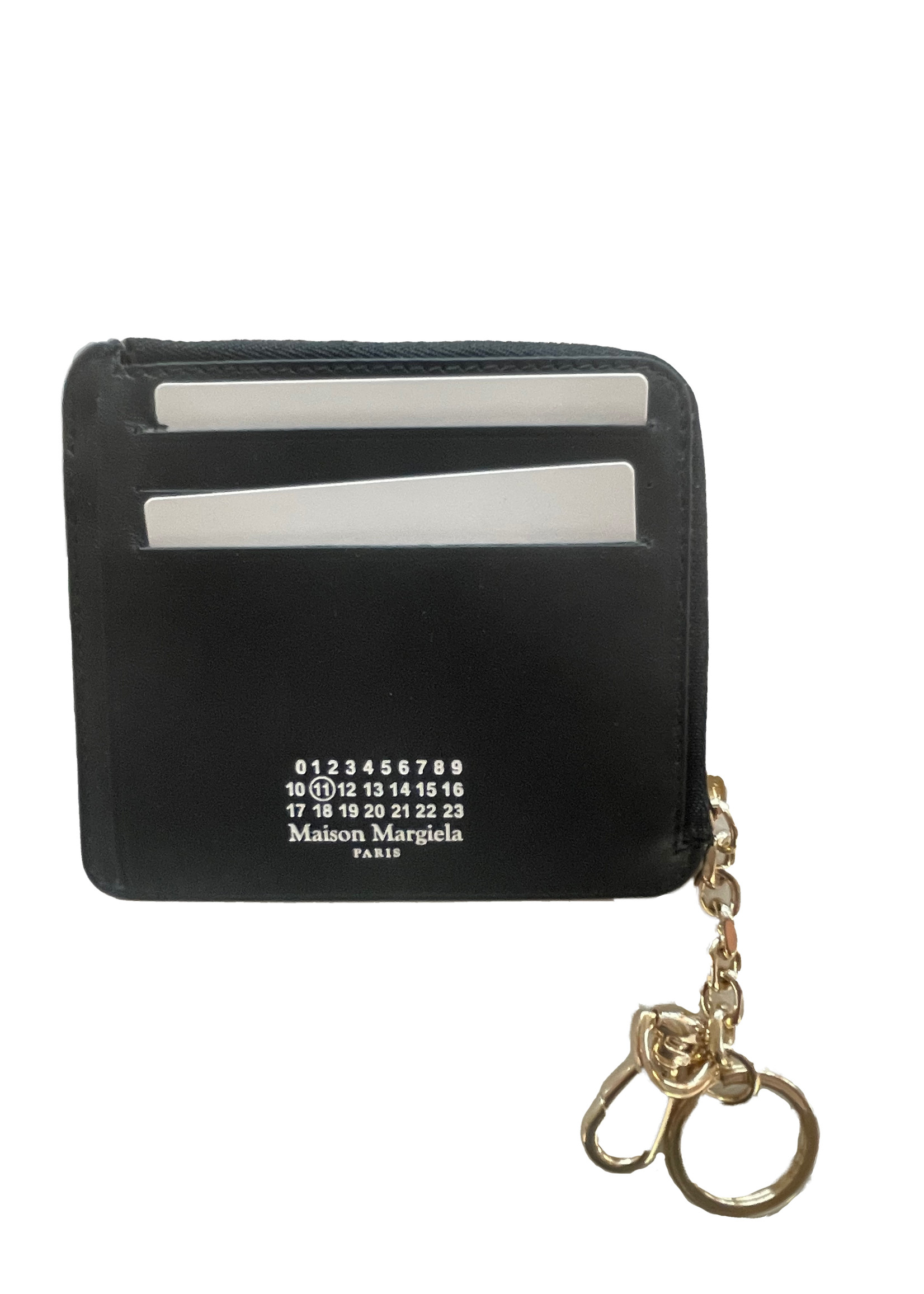 Maison Margiela Zip Wallet with Keychain in Black and Gold