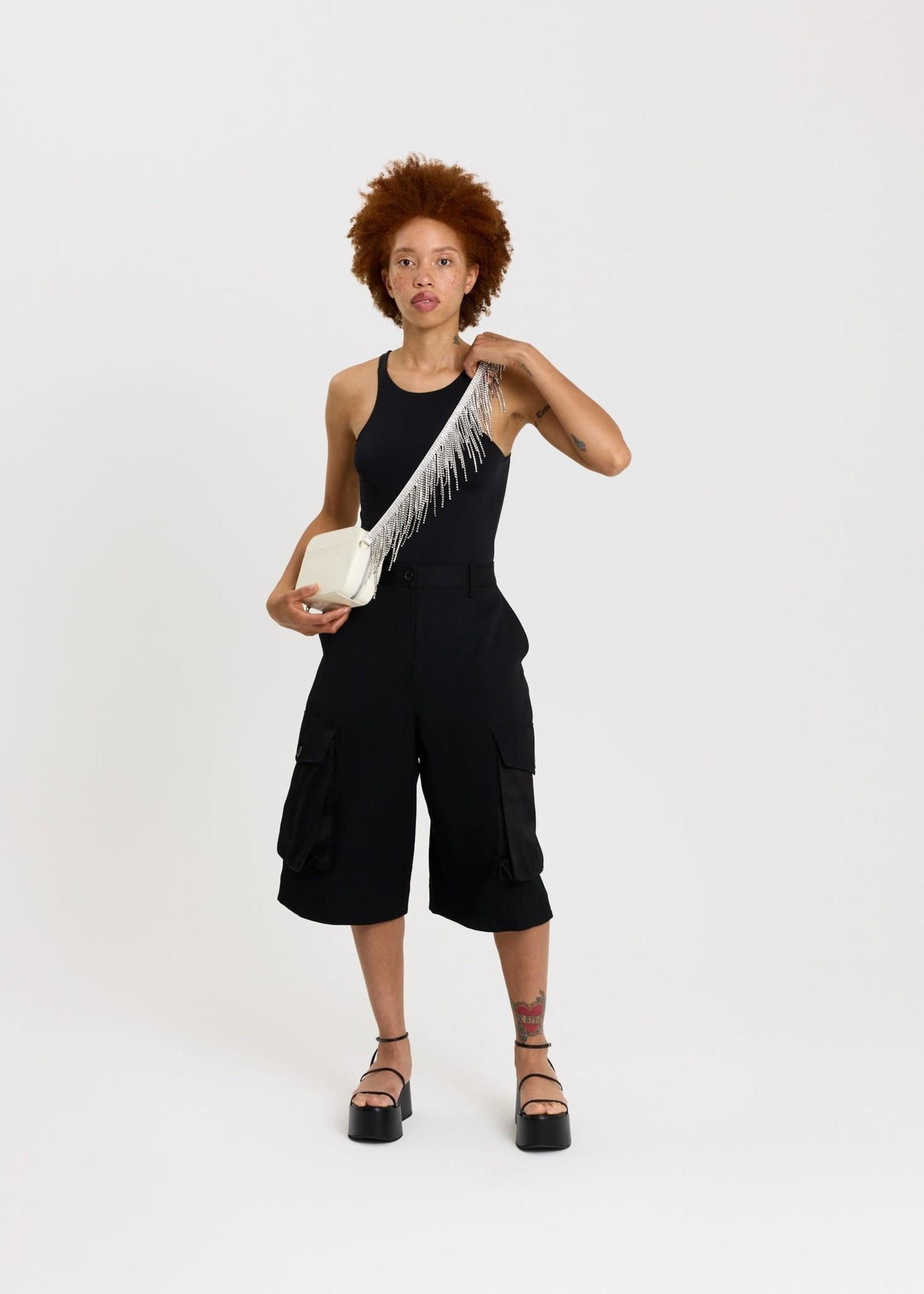 KARA Crystal Fringe Camera Bag in White