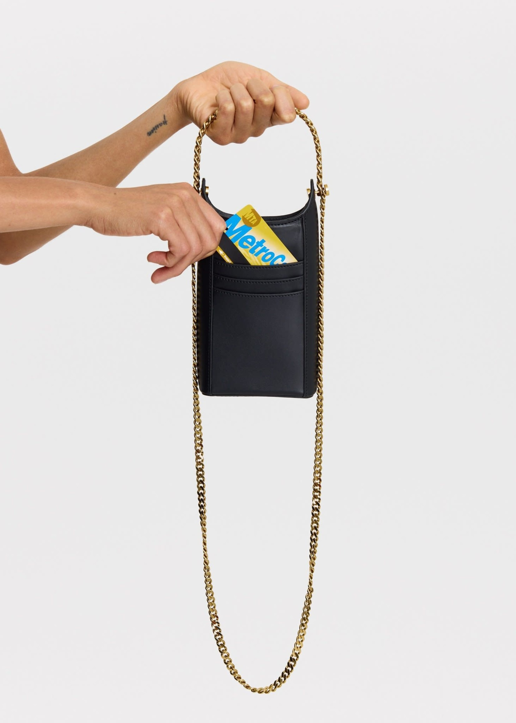 KARA Infinity Tech Pouch Black with Gold chain