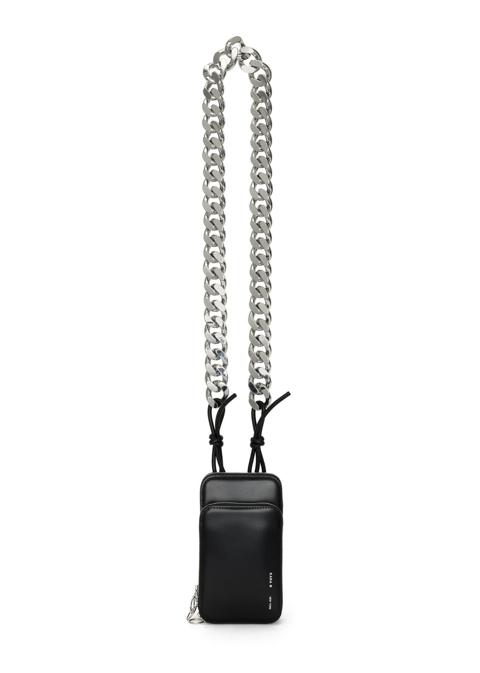 KARA Duplex Phone Bag with chain in Black