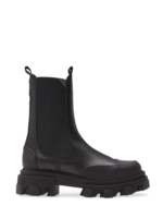 GANNI Mid Chelsea Boot with Lug Sole in Black Leather