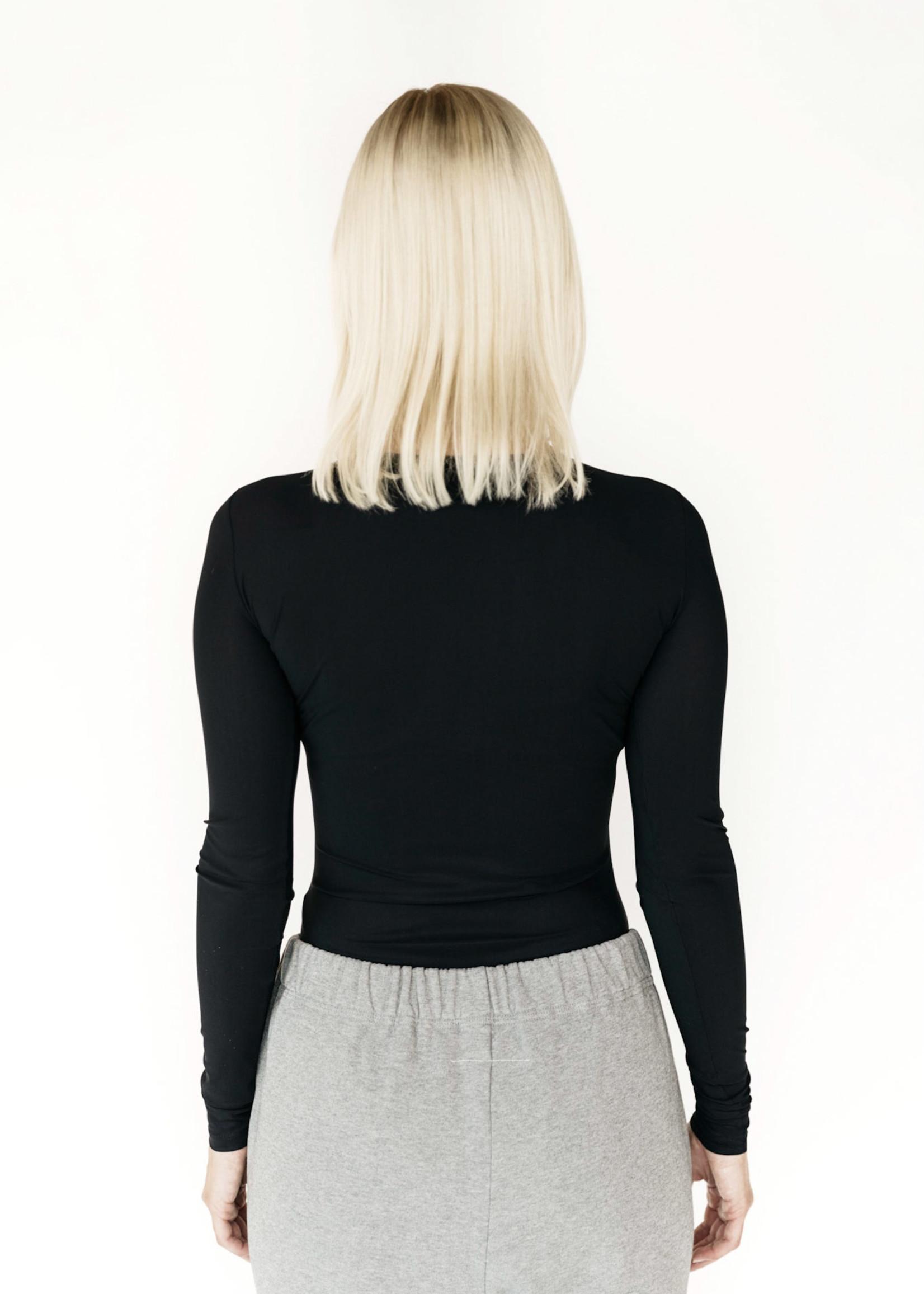 MM6 MAISON MARGIELA Logo Long Sleeved Bodysuit in Black